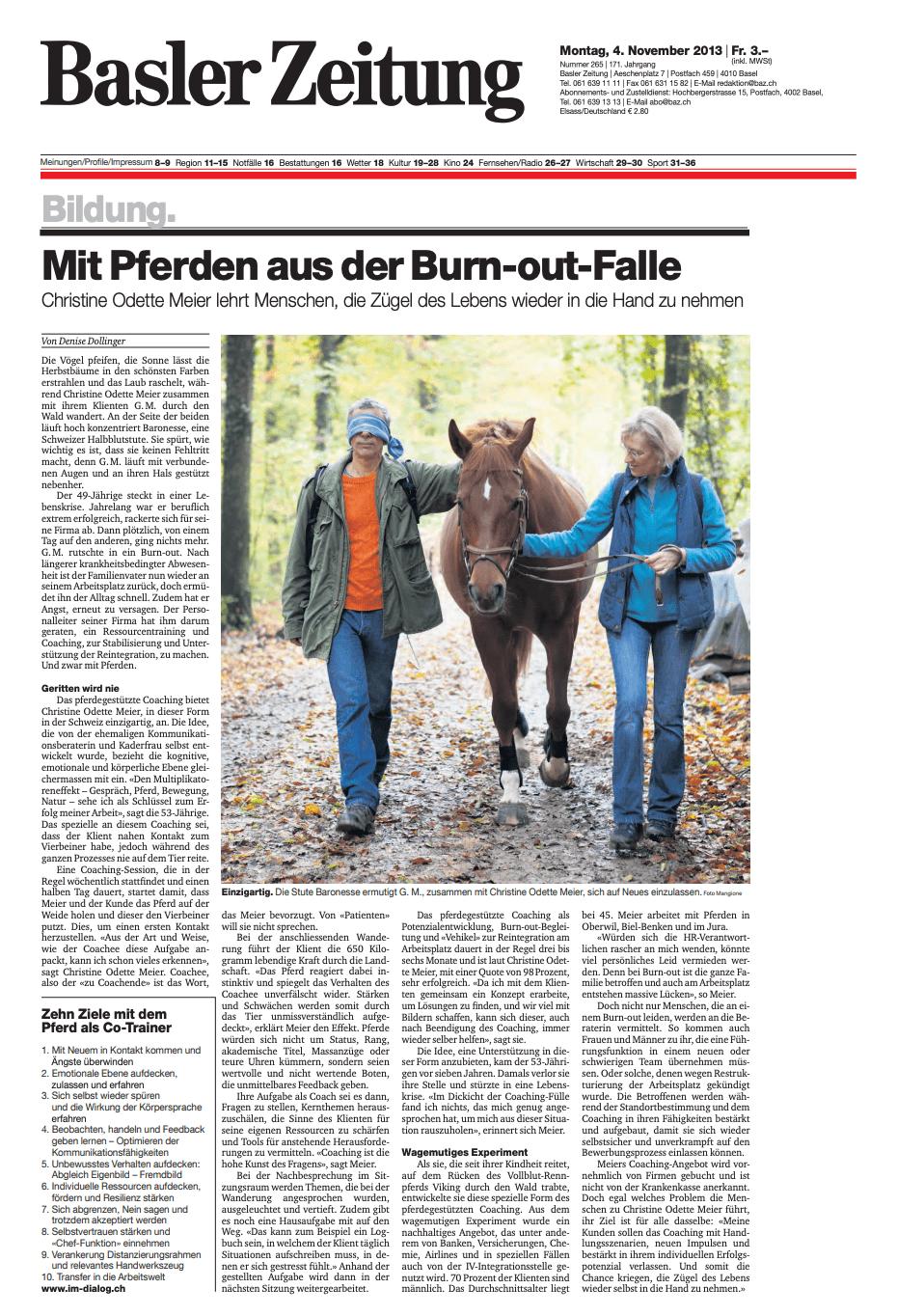 Medienbericht_Baslerzeitung_Mit dem Pferd aus der Burn-out-Falle
