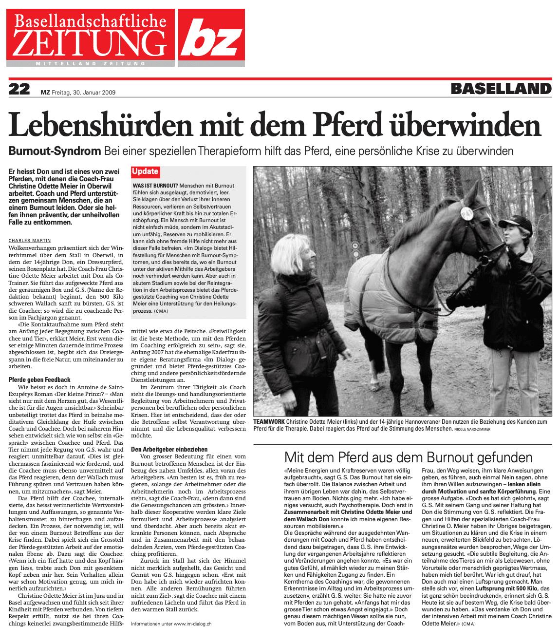 Medienbericht_Basellandschaftliche Zeitung_Lebenshürden mit dem Pferd überwinden
