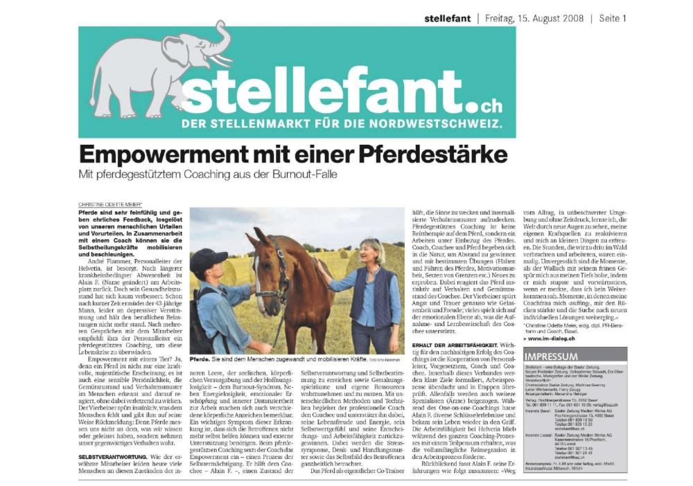Medienbericht BAZ Stellefant Empowerment mit einer Pferdestärke