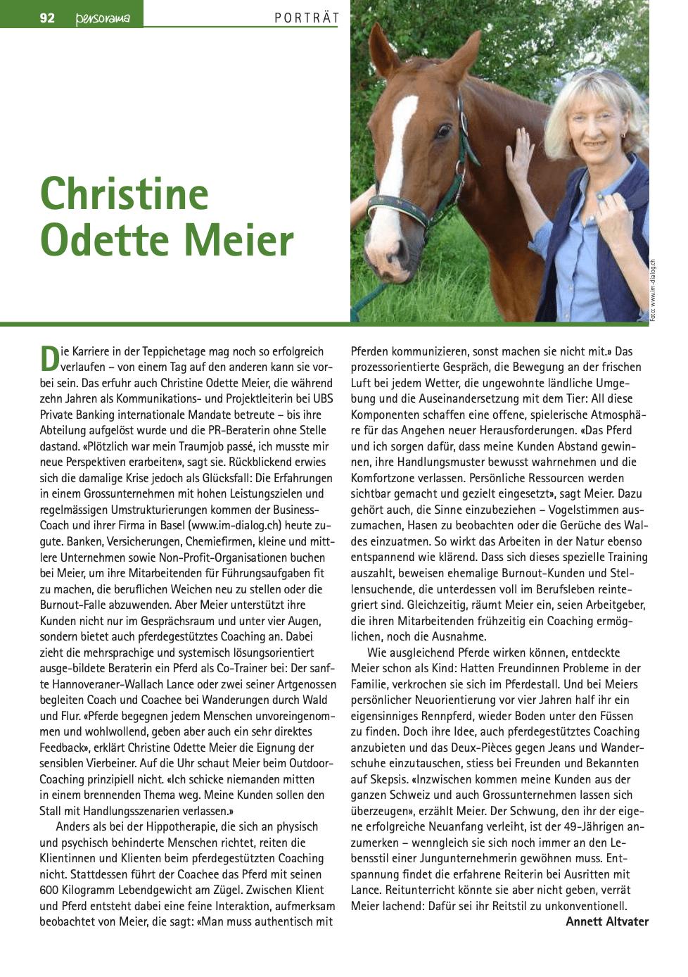 Medienbericht_Persorama_Christine Odette Meier